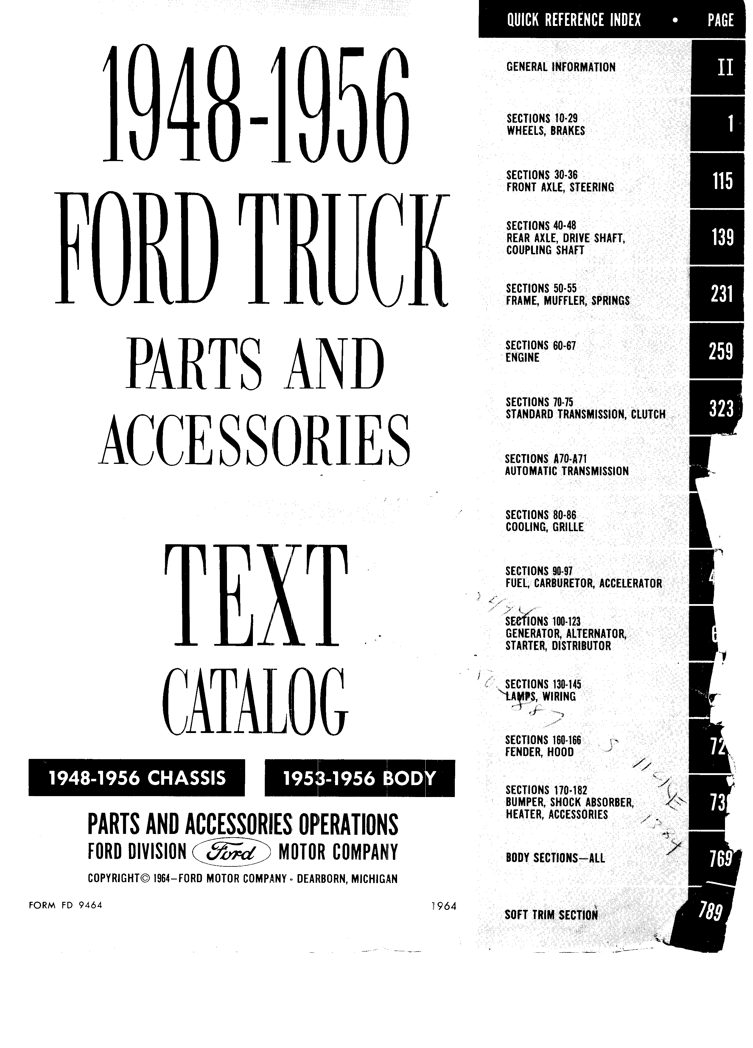 Ford Truck Parts and Accessories Text Catalog FD 9464 January 1964